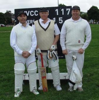 *Three great mates in front of the scoreboard: L-R John Talone, Darren Nagle and Ian Denny.